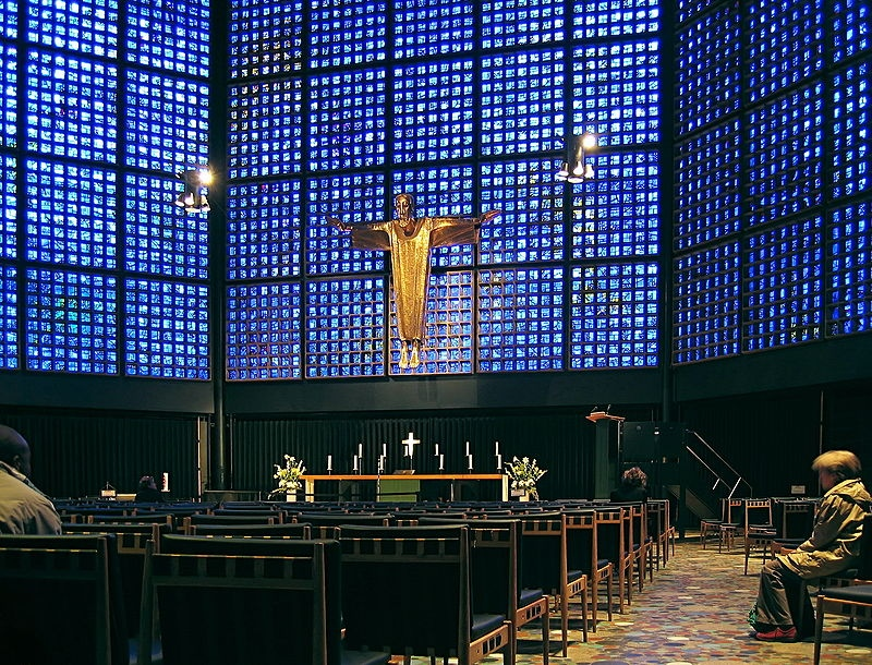 Inside the Kaiser Wilhelm Memorial Church in Berlin
